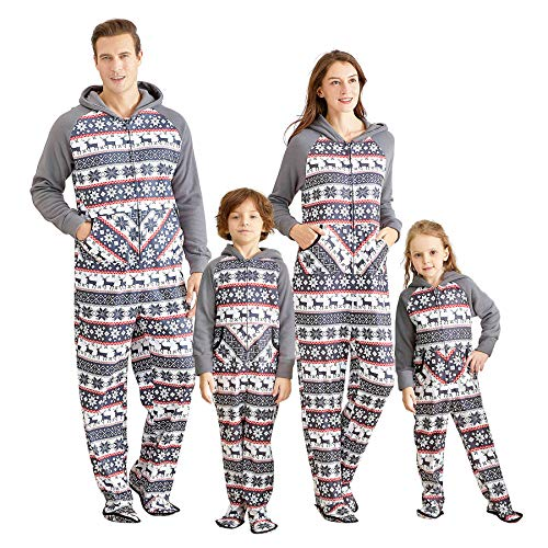 IFFEI Matching Family Footed Pajamas Hoodie Sleeper Christmas PJ's Festival Snowflake Plush Cozy Warm Onesie Women: S