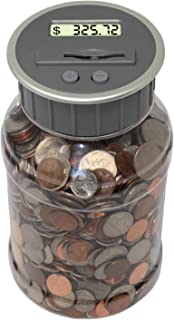 Teacher's Choice Digital Coin Bank, Savings Jar, and Piggy Bank | Automatic Coin Counter Totals All U.S. Coins Including Dollars and Half Dollars - Original Style, Clear Jar w/ Grey Lid
