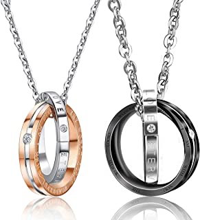 bd559c57b6 UHIBROS His & Hers Matching Set Titanium Stainless Steel Couples Pendant  Necklace