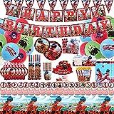 Miraculous Ladybug Party Supplies-136 Pcs Ladybug Birthday Party Decorations Include Cake Topper Banner Balloons Plates Birthday Party Supply Pack for Boys and Girls Ladybug Theme Birthday Celebration