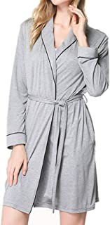 Women's Long-Sleeved Nightgown, Modal Bathrobe, mid-Length Lapel Morning Robe, Classic Belted Robe, Casual Home wear, Soft and Comfortable (Color : Gray, Size : S)