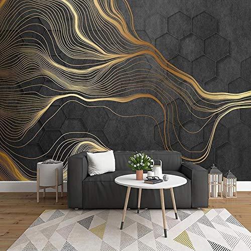 Póster de pared de papel tapiz 390x260cm Hexágonos abstractos dorados líneas Mural Ciudad Hogar Dormitorio Decoración Habitación para niños Papel tapiz mural Pintura de arte de paisaje simulado