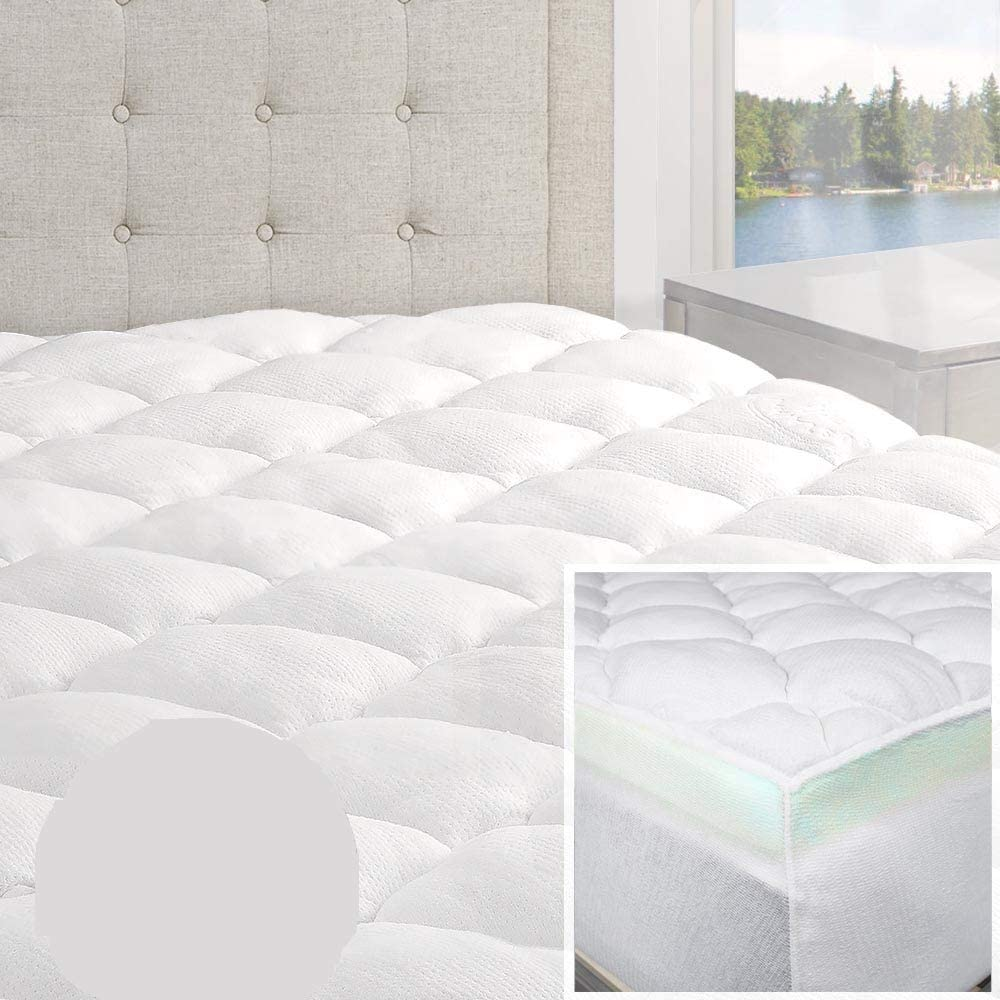 HNU 2 Piece Bamboo Mattress Pad King Topper Outstanding Cal and Superior Double Size