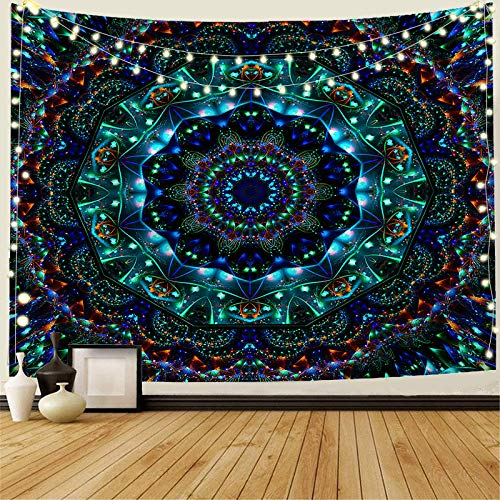 INTHouse Trippy Mandala Tapestry Wall Hanging Hippie Bohemian Tapestry Emerald Tapestry Indian Room Decor for Bedroom Dorm Room Living Room (59'x78')