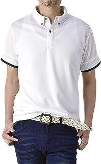 (フラグオンクルー) FLAG ON CREW ゆうパケット発送 ポロシャツ メンズ 半袖 ボタンダウン クレリック衿 吸汗速乾 ポロ ストレッチ / C4Y