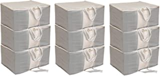 Kuber Industries 9 Piece Non Woven Front Handle Underbed Storage Bag, X-Large, Grey (CTSN009463)