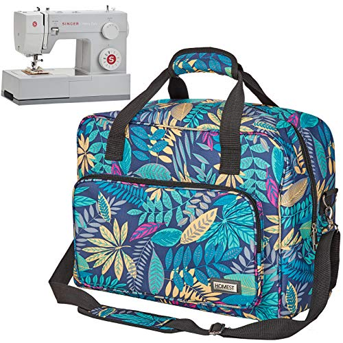 HOMEST Sewing Machine Carrying Case, Universal Tote Bag with Shoulder Strap Fits Most Standard Singer, Brother, Janome, Floral