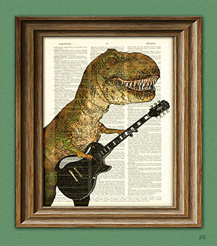 """T-Rex With Guitar""""Cousin Carl Shreds"""" Dinosaur Art Print Beautifully Upcycled Dictionary Page Book Art Print"""