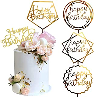 Gold Cake Topper,Double-Sided Glitter, Acrylic Happy Birthday Cake Toppers /Cupcake Toppers Cake Decoration Birthday Decor...