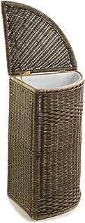 The Basket Lady Corner Wicker Laundry Hamper, 15 in L x 15 in W x 26 in H, Antique Walnut Brown