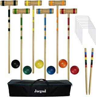 Juegoal Upgrade Six Player Croquet Set for Adults Kids Family with Carrying Bag, 32 Inch