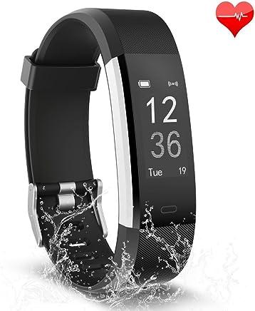 Fitness izleyici, aktivite izleyici, su geçirmez, kalp atış hızı monitörü Bluetooth Smart Watch kablosuz Smart uyku monitör adım sayacı bileklik için Android ve iOS akıllı telefon