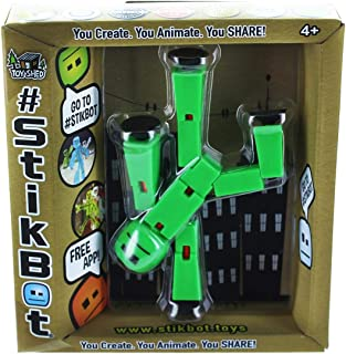 Stikbot Solid Color Green Action Figure Opaque Filming Animation Toy Skitbot Stick Bot