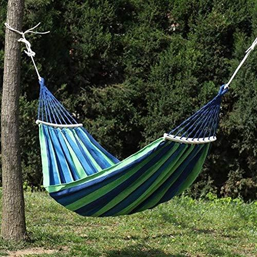 MVNZXL Hamaca para Acampar, Hamaca portátil para Acampar al Aire Libre, jardín, Deportes, Viajes en casa, Columpio para Acampar, Lona, Rayas, Colgar, Cama, Hamaca (Color: Amarillo)