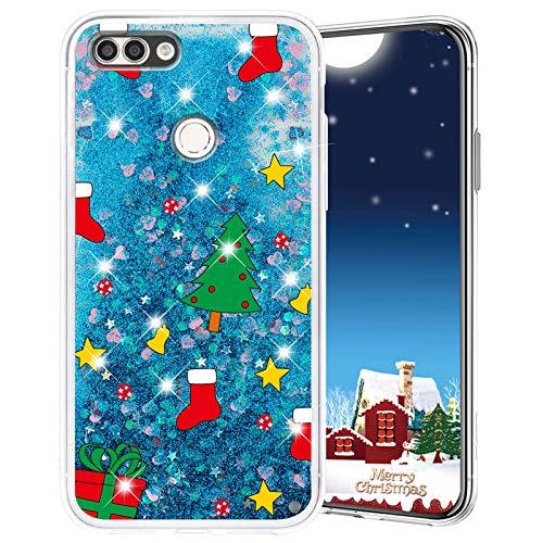 Misstars Weihnachten Handyhülle für Honor 9 Lite, 3D Kreativ Glitzer Flüssig Transparent Weich Silikon TPU Bumper mit Weihnachtsbaum Muster Design Anti-kratzt Schutzhülle für Huawei Honor 9 Lite