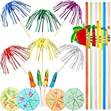 200 Pieces Cocktail Party Decorations, Includes 100 Pieces Palm Tree Picks, 50 Pieces Mini Umbrellas Picks and 50 Pieces 3D Fruit Straws for Hawaiian Tropical Party Decoration, Mixed Color