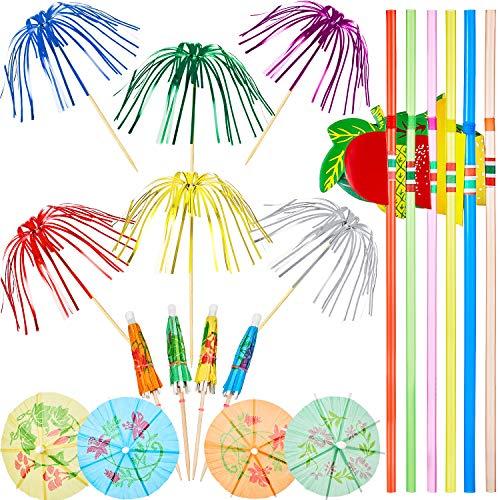 WILLBOND 200 Decoraciones de Fiesta de Cóctel, Incluye 100 Palillos de Palmera, 50 Palillos de Mini Paraguas y 50 Pajitas de Frutas 3D para Decoración de Fiesta Tropical Hawaiana, Color Mezclado