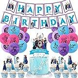 Decoraciones Cumpleaños Frozen, Frozen Fiesta Cumpleaños Decoración con Pancarta Cumpleaños, Adornos Tartas, Globos Látex Azul & Blanco para Niñas Mujeres, Cumpleaños, Baby Shower, Fiesta