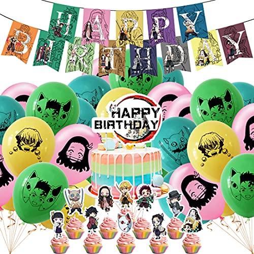 Juego de decoración para fiestas de cumpleaños, globos de Demon Slayer Cake...