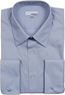 Modena Men's Regular & Contemporary (Slim) Fit French Cuff Solid Dress Shirt – Colors (All Sizes)