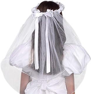 دختران اولین ملاقه لاله سفید با تاج گل بدون مهره و ساتن کمان ، 22 اینچ