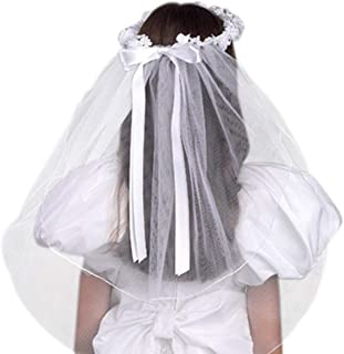 Girls First Communion White Tulle Veil with Beaded Flower Crown and Satin Bow, 22 Inch