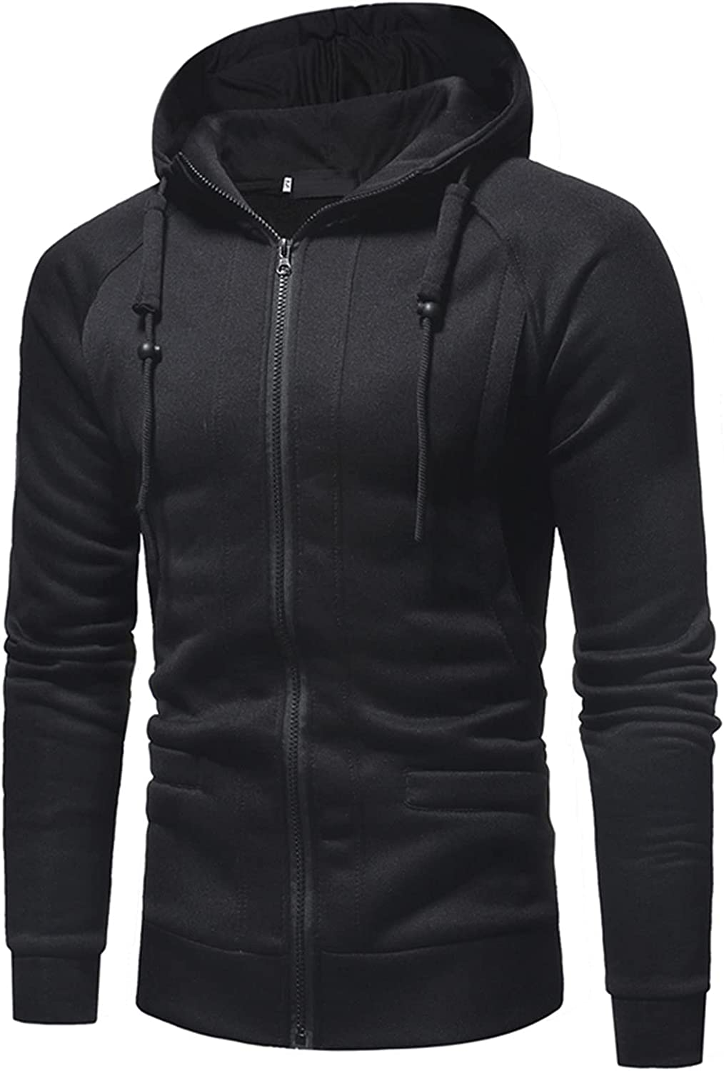 XXBR Hoodies for Mens, Zipper Tether Solid Hooded Sweatshirts Men's Fall Slim Fit Workout Fitness Sports Casual Jackets