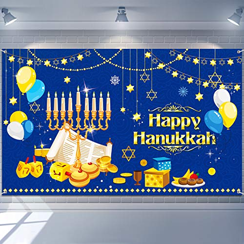 Tatuo Happy Hanukkah Party Backdrop Hanukkah Decorations Photography Background Hanukkah Party Supplies for Hanukkah Festive Day Indoor Outdoor Yard Decor