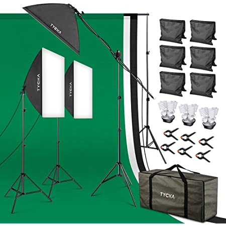 【タイムセール中】ソフトボックス TYCKA プロ級写真撮影ソフトボックス照明キット 3x2Mx3M背景布(白、黒、緑) 3x2M三脚 支援システム 12x45W E27電球 5500k 3*50*70㎝ソフトボックス 背景クランプ 土嚢袋 キャリーバッグが付き スタジオ撮影、ポートレート撮影、インタビュー、映画の背景用 TK220