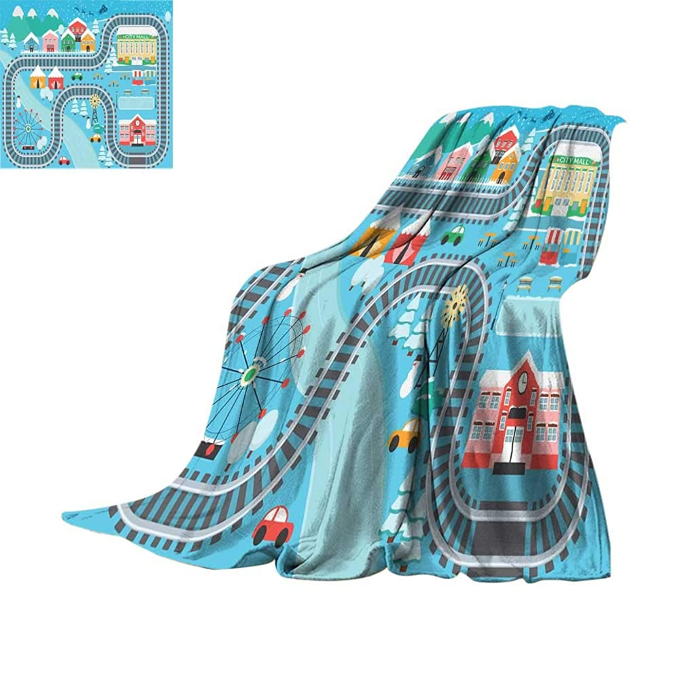 Joedecor Kids Activity Outdoor Microfiber Blanket, Lovely City in The Winter Train Track Activity in Cartoon Drawing Style All Season Fluffy Blankets for Camping Bed Sofa, 70