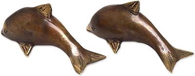 NOVICA Antique Dolphins (Pair) Bronze Figurines