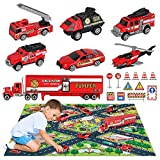 OENUX Diecast Fire Trucks Emergency Rescue Vehicle Toy Set with Play Mat, Carrier Truck,Fire Helicopter, Ambulance, Ladder Truck, Alloy Metal Fire Fighting Car Play Set for Toddlers Kids Boys Girls