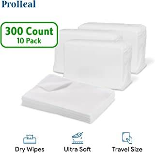 """Disposable Dry Wipes for Baby and Adults, 300 Count (10 Pack) - Ultra Soft Cotton Tissue Washcloths - 7"""" x 13"""" Travel Size..."""