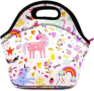 SOOCUTE Insulation Lunch Tote Bag Waterproof School Travel Outdoor Carrying Lunch Box Container Case For Kids Girls Teens Women (Unicorns A)