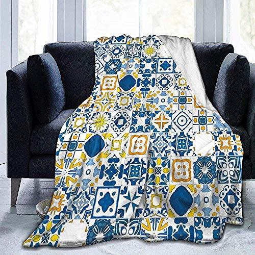 DSSYEAH Winter Dicke Decke Mosaik Portugieser Azulejo Mediterraner Arabeskeneffekt Ultraweiches Mikrofleece Weiche und warme Decke, perfekt fürs Bett, Sofa 60 * 80 inches