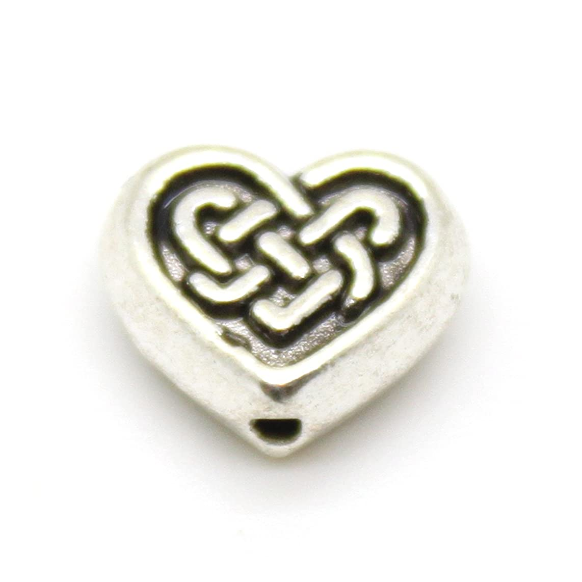 10 Silver Alloy Celtic Heart Beads