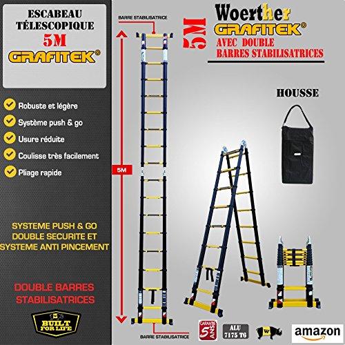 ESCABEAU-ÉCHELLE TÉLESCOPIQUE WOERTHER TRIPLE FONCTIONS / 5M-2M50 / AVEC HOUSSE/MODÈLE GRAFITEK, EN GRAPHITE ET ALUMINIUM 7175T6 / AVEC DOUBLES BARRES STABILISATRICES/GARANTIE 5 ANS