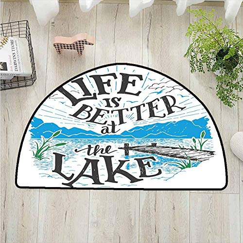 Cabin Decor Queen Size Living Room Semi-circular rug,Life is Better at the Lake Wooden Pier Plants Mountains Outdoors Sketch Printing Carpet,polyester Rug,W51.1 x R35.5 Inches Blue Black Green