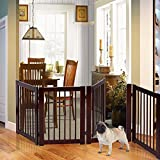 PETSJOY Freestanding Wooden Pet Gate Baby Safety Gate with Walk-Through Door 80 Inch Extra Wide with 4 Foldable Panels Indoor Gates for Stairs Corridor Doorway Hallway,30 Inch H,Cherry