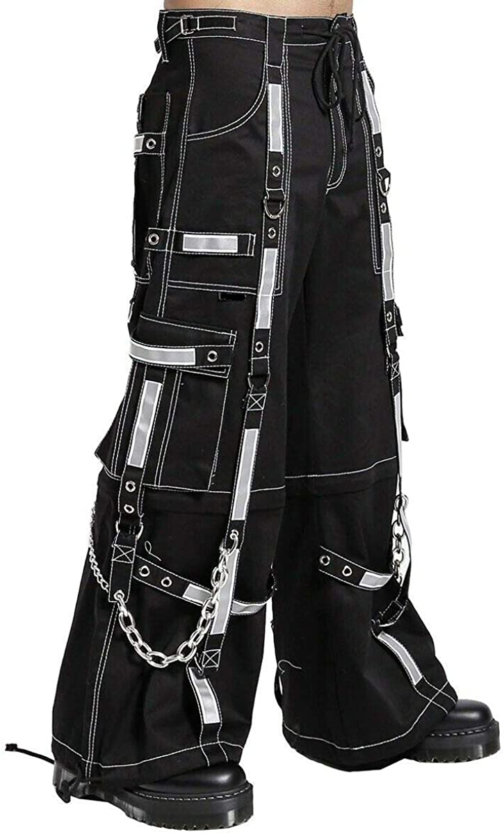 Prime セール 登場から人気沸騰 スーパーセール期間限定 Quality Men Gothic Reflective Bondage Alternative Pant