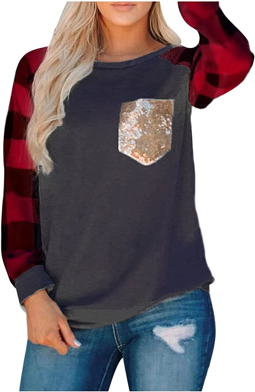 Ranking Ranking TOP19 TOP18 Womens Tops Checkered Printed Sweatshirt T-Shirt Sleeve Long Blo