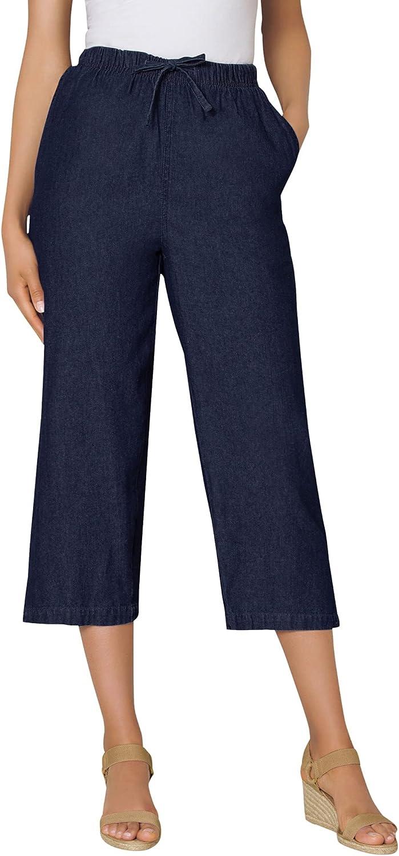 Woman Within Women's Plus Size Drawstring Chambray Relaxed Capri Pants
