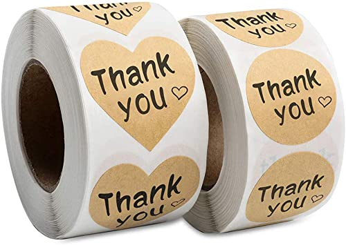 Thank You Stickers Roll 1000pcs Adhesive Labels Kraft Paper with Black Hearts, Decorative Sealing Stickers for Christ...