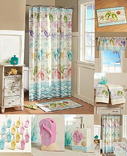 Lakeside Flip-Flops Bathroom Ensemble Collection - Bundle with Shower Curtain, Hooks, Valance, Hand Towels, Rug, Soap Dispenser and Toothbrush Holder