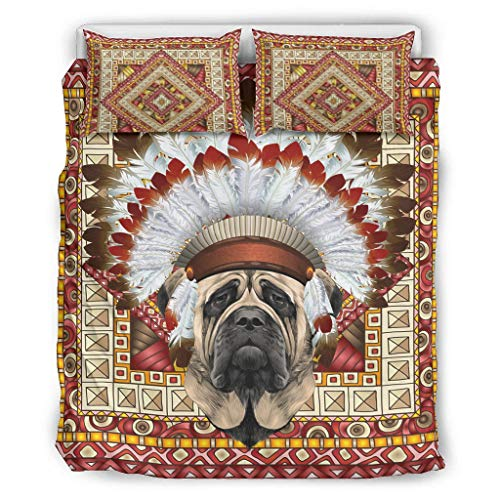 DOGCATPIG Coverlet Native Hat English Mastín 100% fibra de poliéster estilo pareja ropa de cama para colegas blanco 66 x 90 pulgadas