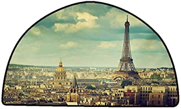 Outdoor Floor Mats Eiffel Tower,Europe Famous Building Cityscape Paris France Aerial View Urban Picture,Mint Green Brown,W30 x L18 Half Round Rugs