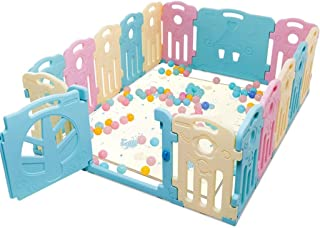 Baby Play Pen Kids Safety Playpen Baby Safety Fence Yard Home Indoor OutdooActivity Center (16- Panel) (No Balls and Mat)