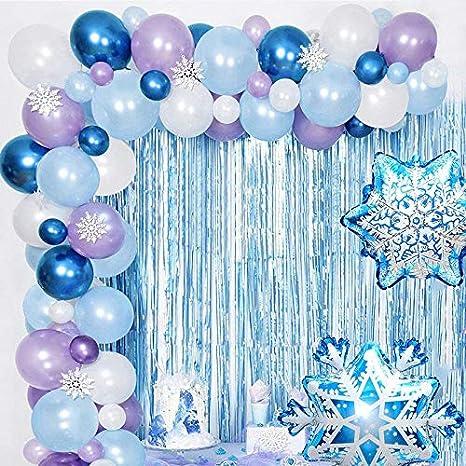Ropniik Kit de Arco y Guirnalda de Globos congelados, Globos de cumpleaños, Suministros para Fiestas, Globos de látex metálicos, Azules, Blancos y Azules