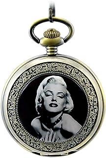 ZHAOJ Marilyn Monroe Reloj de Bolsillo mecánico de Acero Esqueleto Hueco con números Romanos Bronce