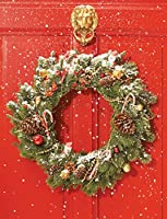 Red Door Wreath Embellished Holiday Notecards (Christmas Cards)